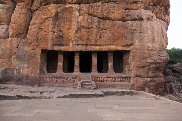 Cave temple cut out from the rock at Badami, India
