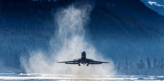 Business Jet departing a snowy airfield - dangerous airports