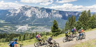 Uphill mountainbiking at tri-border area, Carinthia.