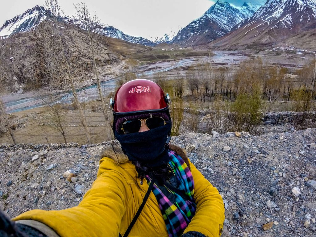 Woman taking a selfie on a Chadar trek