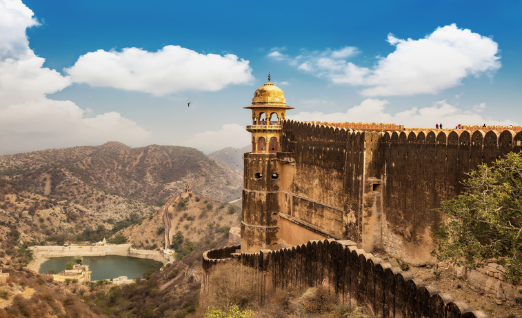 Jaigarh Fort Rajasthan with view of Jaipur city scape and Maota lake.