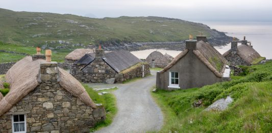 Blackhouse village on Lewis Scottish Highands