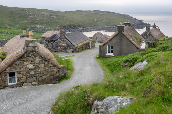 Blackhouse village on Lewis Scottish Highands