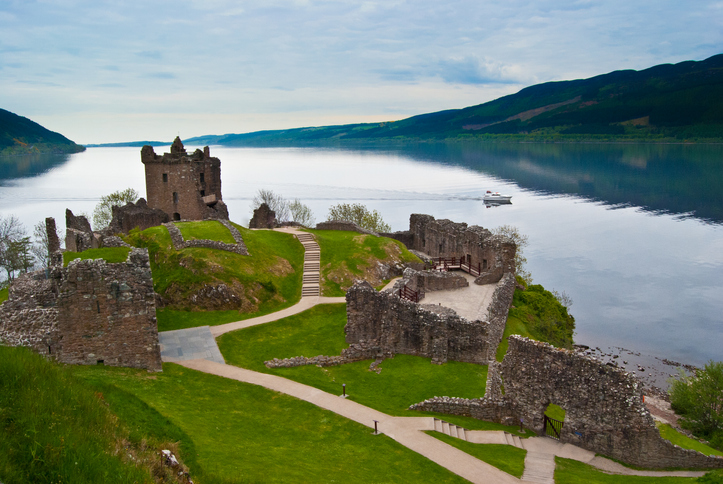 Urquhart Castle overlooking Loch Ness in Scotland