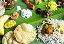 Onam Feast - Vegetarian meal served in banana leaf on the occasion of Onam festival, selective focusOnam Feast - Vegetarian meal served in banana leaf on the occasion of Onam festival, selective focus