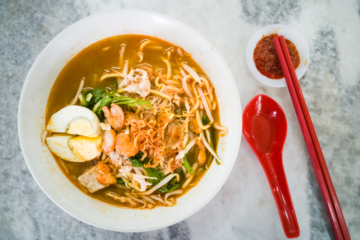No frills popular Penang prawn mee noodles with eggs, and small shrimp, Singaporean Cuisine