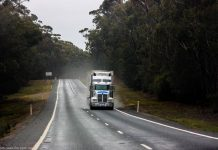 A truck on a smooth road