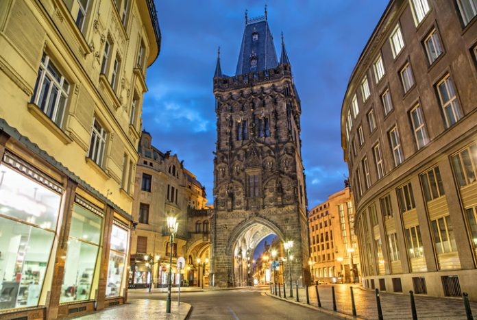 The Powder Tower - medieval gothic city gate in Prague, Czech Republic.