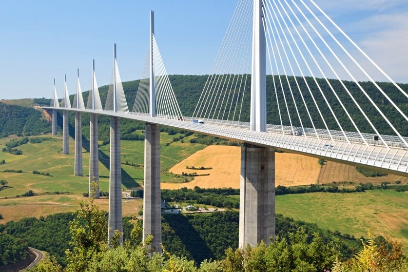 Morning shot of Millau Viaduct, a cable-stayed bridge that spans the valley of the River Tarn near Millau in southern France.