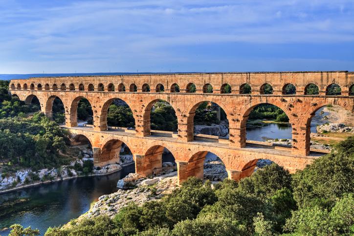beautiful bridges Pont du Gard, Languedoc-Roussillon, France