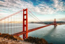 famous Golden Gate Bridge, San Francisco at night, USA, Game