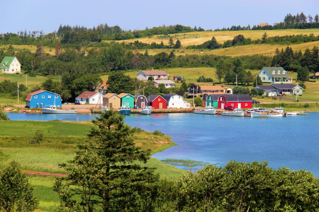 a familiar view in Prince Edward Island of colorful fishing villages, this in French River