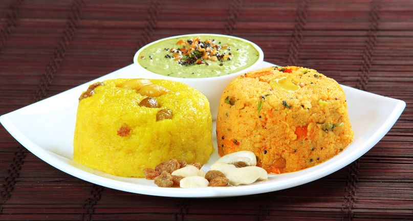 South Indian dish chow chow bath with coconut chutney.