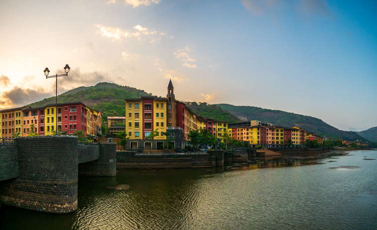 Lavasa, a private, planned city stylistically based on the Italian town Portofino, with a street and several buildings bearing the name of that town.