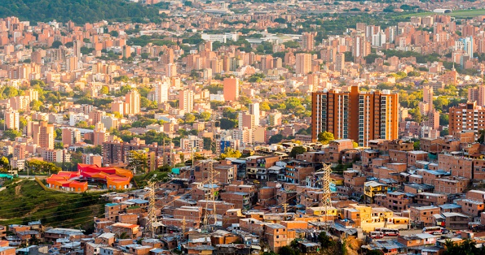 Light hitting the many buildings while the sun sets in Medellin, Colombia.