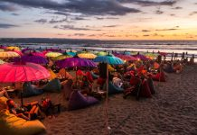 Sunset over Kuta beach Bali, World Tourism Day