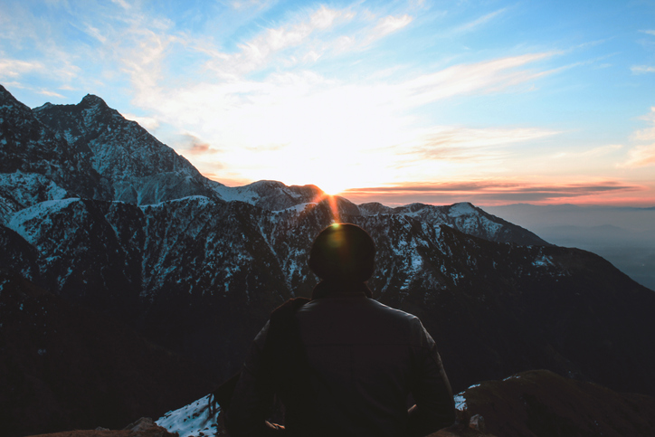 Watching the sunrise from Triund Trek