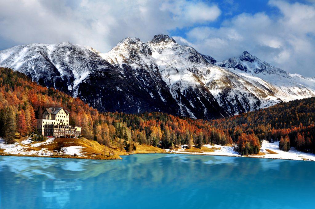 Mountain lake, St. Moritz, Switzerland