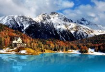 Mountain lake, St. Moritz, Switzerland
