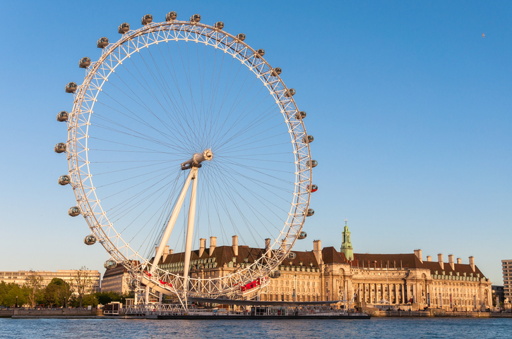 The giant Ferris wheel is 135 meters tall and the wheel has a diameter of 120 meters.