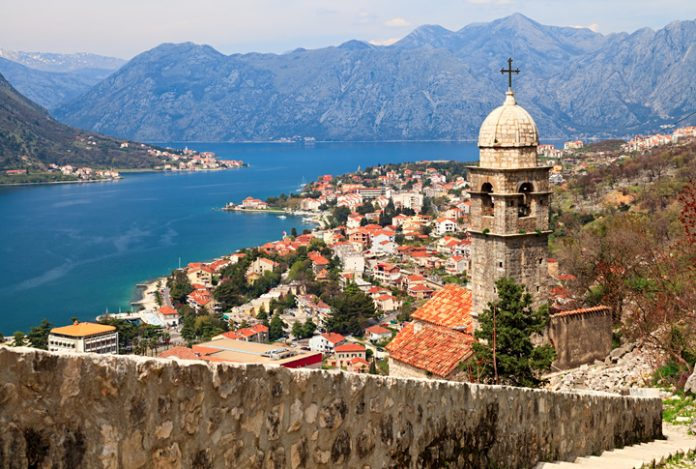 Summer view of View of Kotor Bay and Our Lady of Health Church, Montenegro