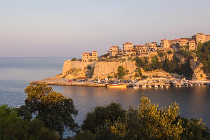Sunrise landscape of small old town Ulcinj in Montenegro at adriatic sea