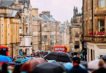 Royal Mile, Edinburgh, on a rainy day