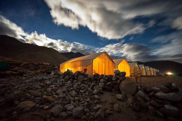 Camping tents at Pangong Tso Lake, Ladakh, J&K