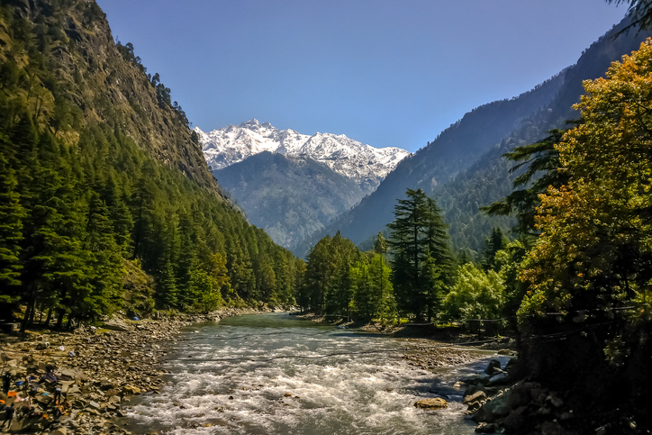 Beautiful view of Himalayan mountains, Kasol, Parvati valley, Himachal Pradesh, northern India, Solo trip in India