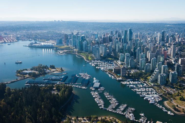 Aerial Image of Vancouver, British Columbia, Canada with Stanley Park, downtown and waterfront, Peaceful Countries