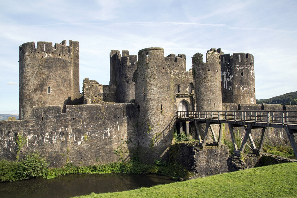 Caerphilly Castle Rear Entrance over the Moat.