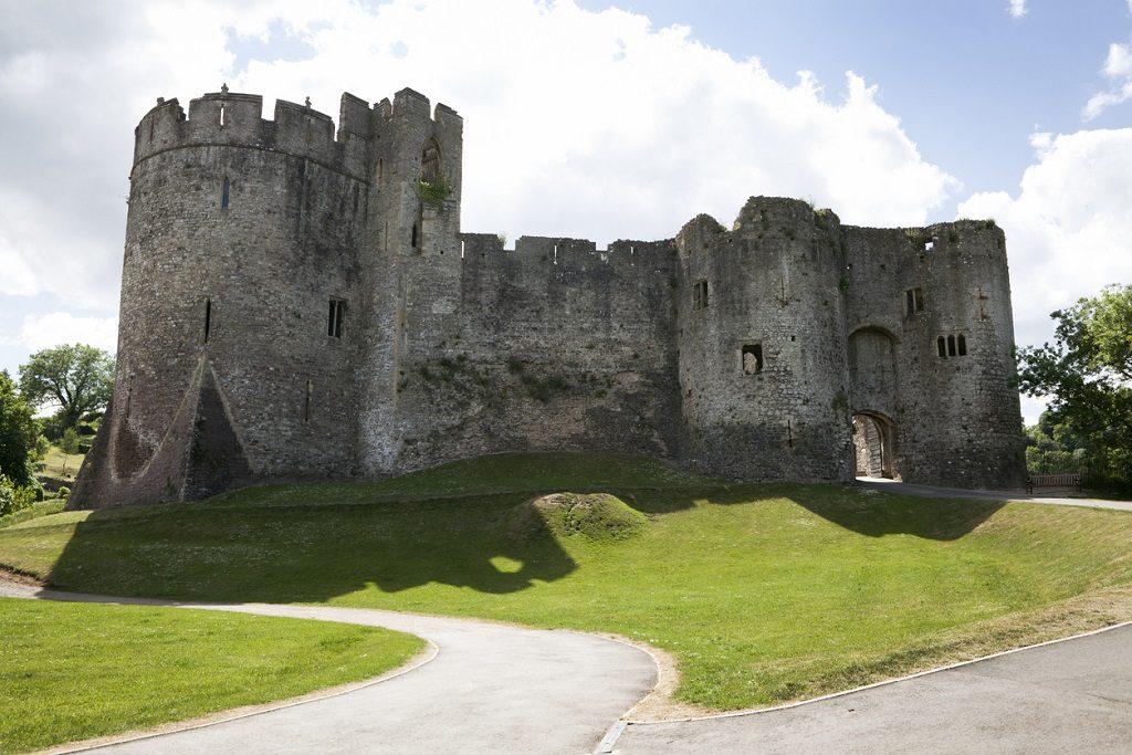 Chepstow Castle exterior facade, Norman,