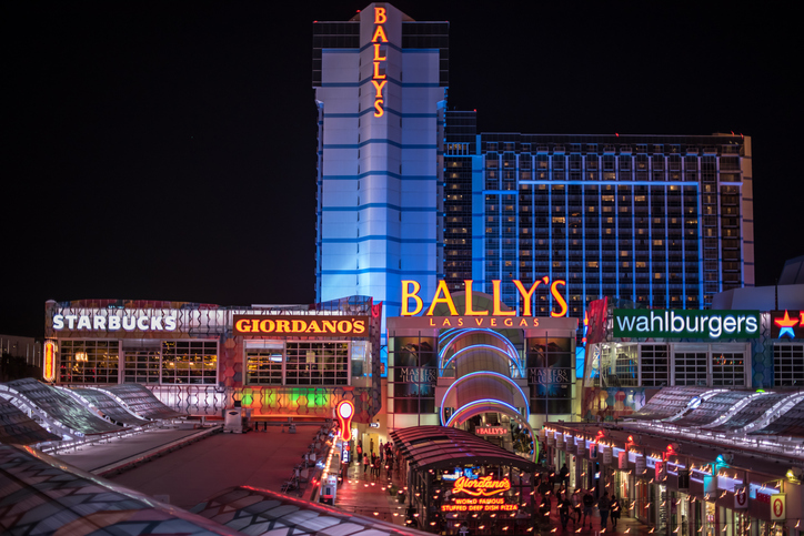 Bally's Hotel and Casino lit up at night in Las Vegas