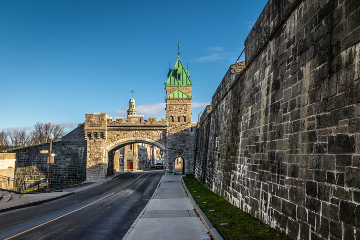 Porte Saint Louis gate on the fortified wall of Quebec - Quebec City, Canada