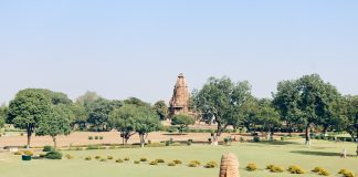Expanse of gardens around the temples of Khajuraho, Madhya Pradesh