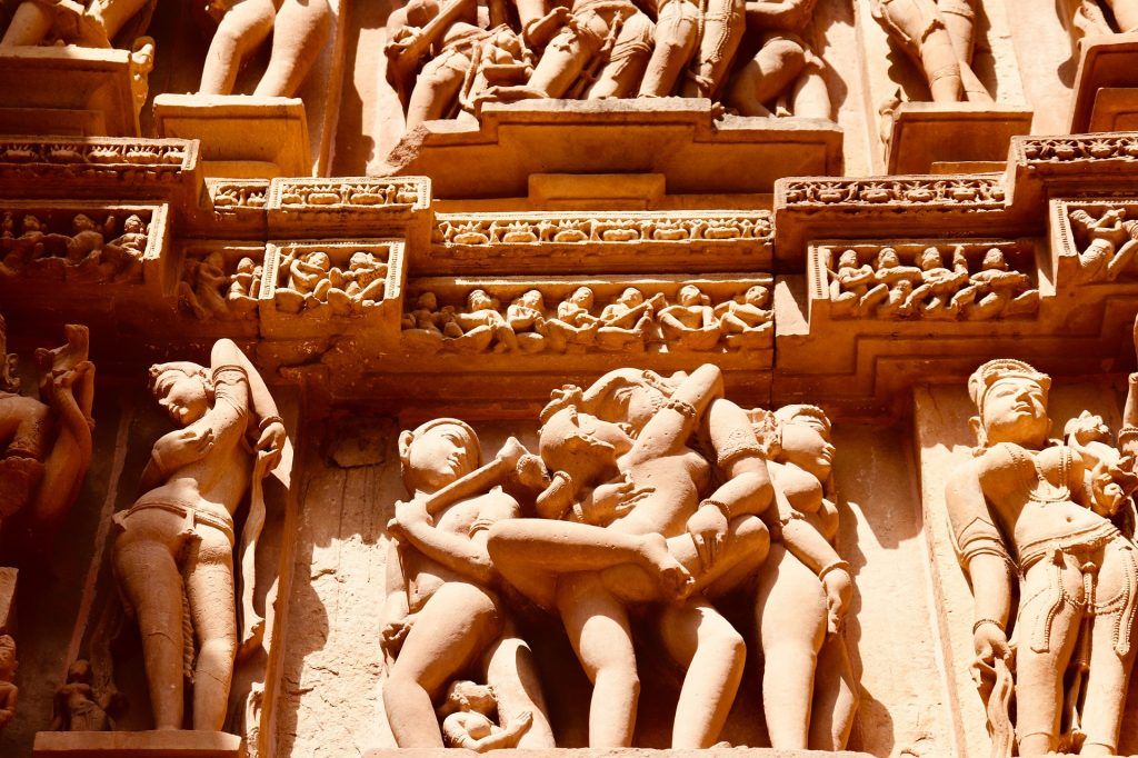 Erotic carvings on the temples of Khajuraho