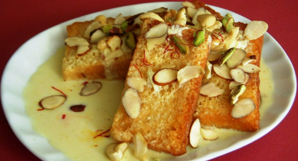 Shahi tuka, a bread based dessert from Hyderabad, a must-try in Hyderabadi cuisine