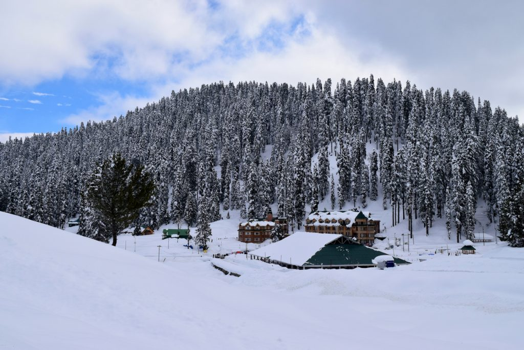 A view after the fresh snowfall at the world famous ski resort in Gulmarg, Kashmir