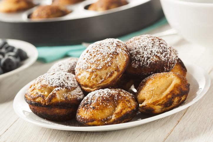 Homemade Aeblskiver Danish Pancake with Powdered Sugar
