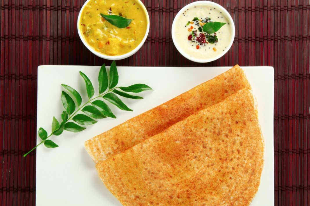 South Indian food set dosa with chutney.