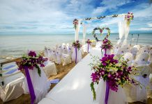 outdoor beach wedding setup