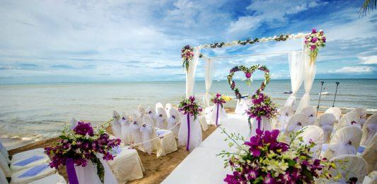 outdoor beach wedding setup