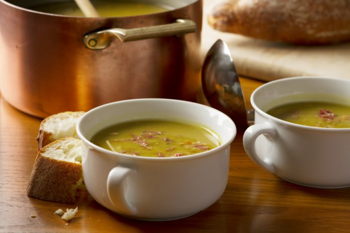 Slow simmered, home made split pea soup made with smoked pork ham hocks and served with crusty french bread.