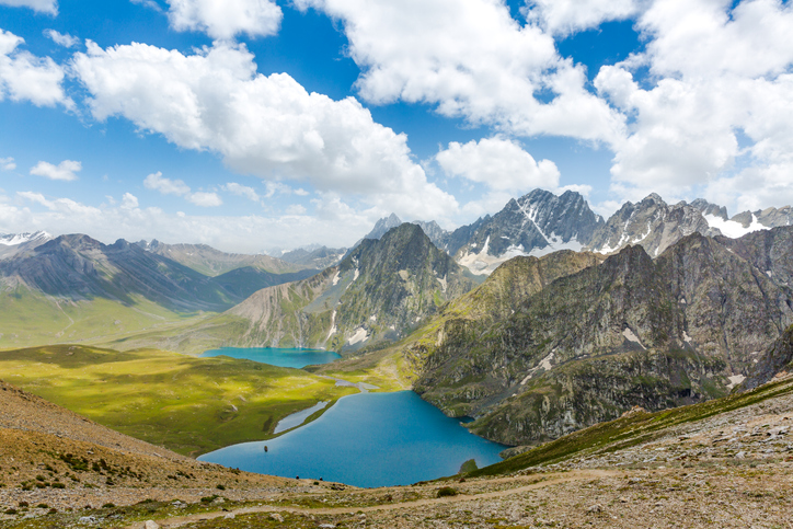 Krishnasar and Vishnusar lakes on the Kashmir great lakes trek in Sonmarg, India.