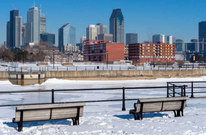 Montreal Skyline in winter 2016 from Lachine Canal.