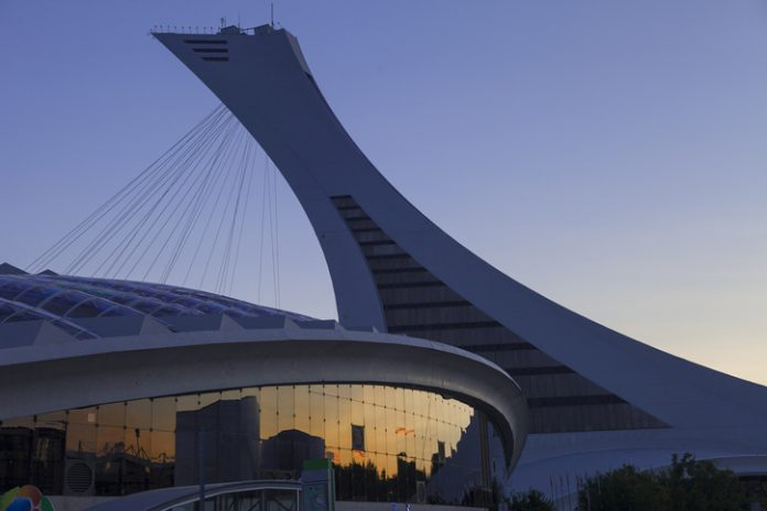 Montreal, Canada - August 23, 2013: Montreal Olympic Stadium at dusk