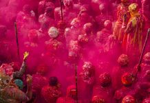 Holi celebration in Nandgaon, India