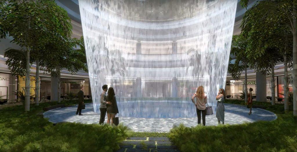 Singapore airport waterfall