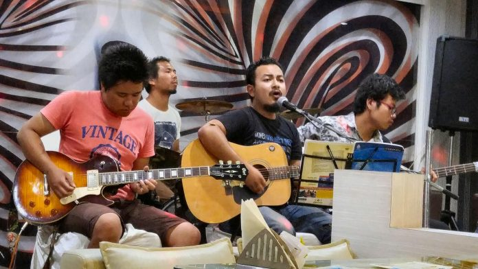 A Manipur band performing at a local cafe