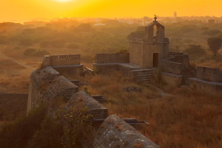 Diu fort at sunset. Diu, India